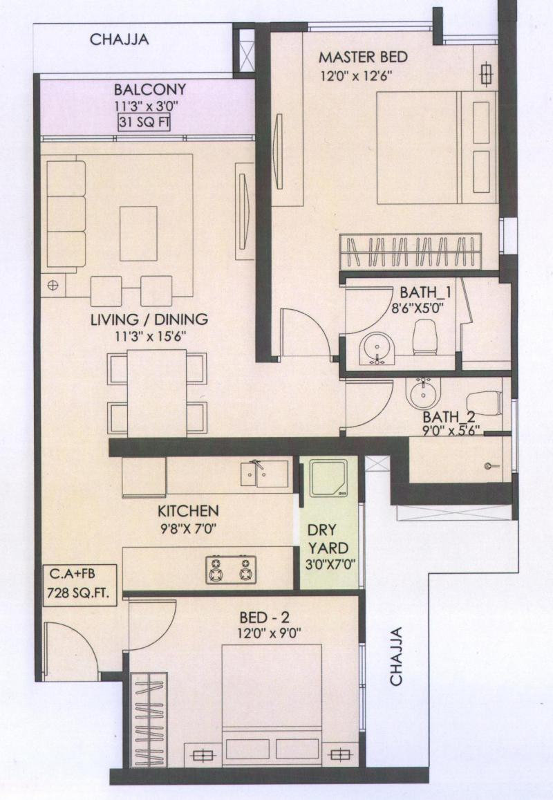 2 bhk flats floor plans roma epicurean whitefield by roma builders in bangalore east